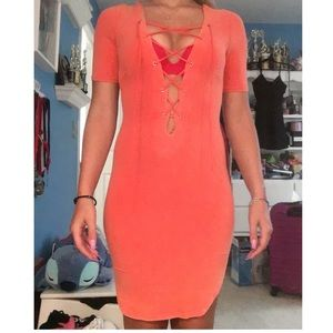 Orange low cut cage dress